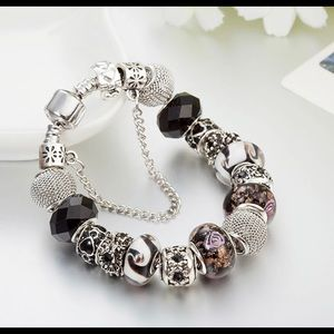 Jewelry - Antique Silver Plated Crystal Charm Bracelet